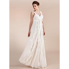 Robe Empire Amoureux Longueur ras du sol Mousseline Robe de mariée avec À ruban(s) Robe à volants (002011682)