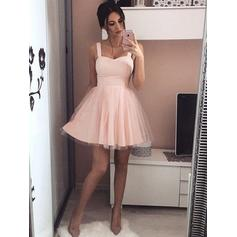 Ruffle A-Line/Princess Short/Mini Satin Cocktail Dresses