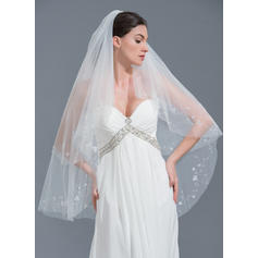 Fingertip Bridal Veils Tulle Two-tier Classic With Cut Edge Wedding Veils