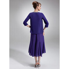 Corte A Decote redondo Comprimento médio Tecido de seda Vestido para a mãe da noiva com Pregueado Beading lantejoulas (008005996)