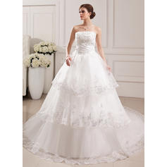Simple Strapless Ball-Gown Wedding Dresses Cathedral Train Tulle Sleeveless (002196904)