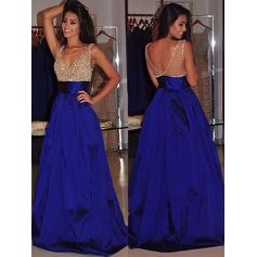 Ball-Gown Sweep Train V-neck Satin Prom Dresses (018148466)