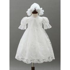 Dentelle Col rond Robes de baptême bébé fille avec 1/2 manches (2001216822)