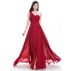 Vestidos princesa/ Formato A Um ombro Sweep/Brush trem Tecido de seda Vestido de baile com Pregueado Beading lantejoulas Frente aberta (018105683)