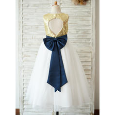 A-Line/Princess Tea-length Flower Girl Dress - Sequined Sleeveless Scoop Neck With Sequins/Bow(s) (010123037)