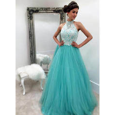 Sleeveless A-Line/Princess Prom Dresses Halter Lace Floor-Length