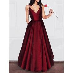 Satin Sleeveless A-Line/Princess Prom Dresses V-neck Ruffle Floor-Length