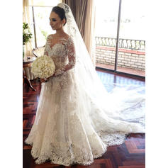 A-Line/Princess Lace Long Sleeves Scoop Court Train Wedding Dresses