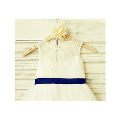 Escote redondo Corte A/Princesa Vestidos para niña de arras Tul/Encaje Lazo(s) Sin mangas Hasta la tibia (010212038)