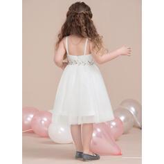 Forme Princesse Longueur mollet Robes à Fleurs pour Filles - Tulle Sans manches Amoureux avec Brodé/Paillettes/Plissée (010115795)