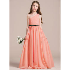 A-Line/Princess Floor-length Flower Girl Dress - Chiffon Sleeveless One-Shoulder With Ruffles/Bow(s)