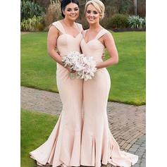 Satin Sleeveless Trumpet/Mermaid Bridesmaid Dresses Sweetheart Ruffle Floor-Length