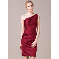 Sheath/Column One-Shoulder Knee-Length Satin Bridesmaid Dress With Ruffle (007056860)