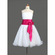 Sweetheart Knee-length A-Line/Princess Flower Girl Dresses Organza/Charmeuse Sleeveless