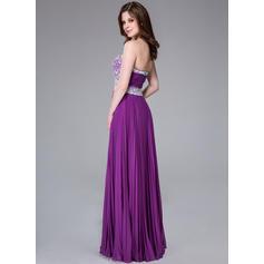 Elegantti A-linjainen/Prinsessa Sifonki Lattiaa hipova pituus Hihaton Vanhojentanssimekot (018041160)