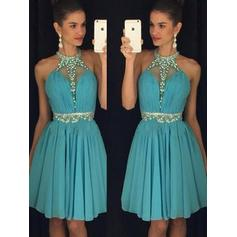 A-Line/Princess Halter Chiffon Sleeveless Knee-Length Ruffle Beading Sequins Cocktail Dresses