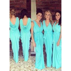 V-neck Sheath/Column Jersey Sleeveless Bridesmaid Dresses (007145038)