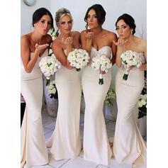 Sheath/Column Jersey Bridesmaid Dresses Beading Sequins Sweetheart Sleeveless Sweep Train