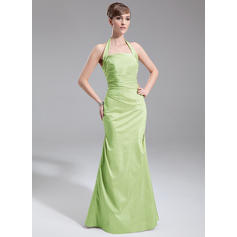 A-Line/Princess Taffeta Bridesmaid Dresses Ruffle Halter Sleeveless Floor-Length (007001857)