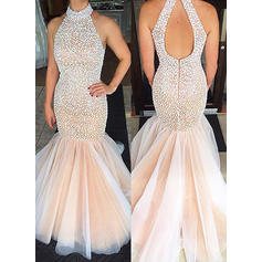 Tulle Sleeveless Trumpet/Mermaid Prom Dresses Scoop Neck Sweep Train