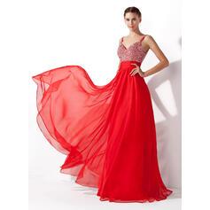 A-Line/Princess V-neck Floor-Length Chiffon Prom Dresses With Ruffle Beading Sequins (018005105)