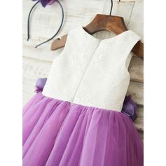 Forme Princesse Longueur genou Robes à Fleurs pour Filles - Tulle/Dentelle Sans manches Col rond avec Dentelle/Fleur(s) (010117702)
