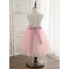 Forme Princesse Longueur genou Robes à Fleurs pour Filles - Tulle/Dentelle Sans manches Col rond avec Ceintures (010148831)