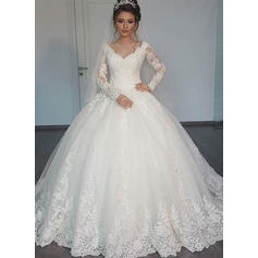 Gorgeous Floor-Length Ball-Gown Wedding Dresses V-neck Tulle Long Sleeves