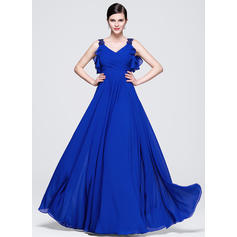 2018 New Chiffon Evening Dresses A-Line/Princess Floor-Length V-neck Sleeveless (017071538)