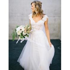 A-Line/Princess Tulle V-neck Sweep Train Wedding Dresses