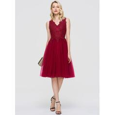 A-Line V-neck Knee-Length Tulle Cocktail Dress