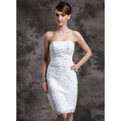 Satén Organdí Encaje Vestido tubo Hasta la rodilla Sin tirantes Vestidos de novia (002211377)