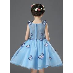 Forme Princesse Longueur genou Robes à Fleurs pour Filles - Organza/Satiné Sans manches Col rond avec Fleur(s) (010093511)