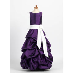 Princess Scoop Neck Ball Gown Taffeta Flower Girl Dresses (010004121)