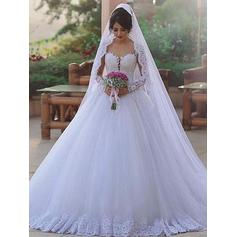 Flattering Sweep Train Ball-Gown Wedding Dresses Sweetheart Tulle Long Sleeves