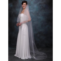 Chapel Bridal Veils Tulle Two-tier Drop Veil With Pencil Edge Wedding Veils