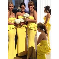 Sheath/Column Sweetheart Floor-Length Bridesmaid Dresses With Cascading Ruffles (007145011)