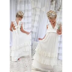 Flattering A-Line/Princess Flower Girl Dresses Floor-length Chiffon/Lace Sleeveless