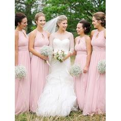 A-Line/Princess Floor-Length Scoop Neck Sleeveless Chiffon Bridesmaid Dresses (007211717)