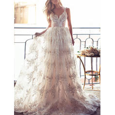 A-Line/Princess V-neck Sweep Train Wedding Dresses (002144923)