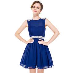 A-Line/Princess Scoop Neck Chiffon Sleeveless Short/Mini Ruffle Beading Sequins Homecoming Dresses