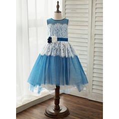 Forme Princesse Asymétrique Robes à Fleurs pour Filles - Tulle/Dentelle Sans manches Col rond avec Fleur(s) (010141205)