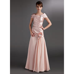 A-Line/Princess Chiffon Charmeuse Sleeveless Off-the-Shoulder Floor-Length Zipper Up Mother of the Bride Dresses