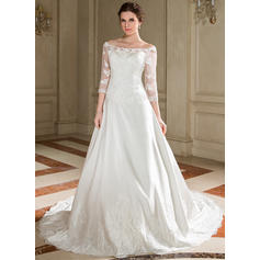 A-Line/Princess Lace Beading Sequins Satin Chapel Train Three-dimensional Wedding Dresses