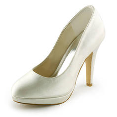 Women's Closed Toe Platform Pumps Stiletto Heel Satin Wedding Shoes
