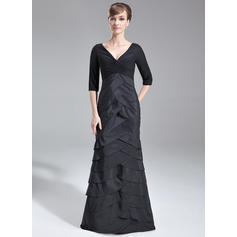 Trumpet/Mermaid Chiffon Taffeta 3/4 Sleeves V-neck Sweep Train Zipper Up Mother of the Bride Dresses