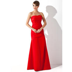 Trumpet/Mermaid Satin Bridesmaid Dresses Ruffle Strapless Sleeveless Floor-Length