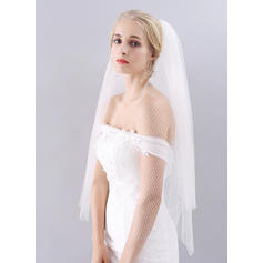 Fingertip Bridal Veils Tulle Classic With Cut Edge 39.37 in (100cm) Wedding Veils
