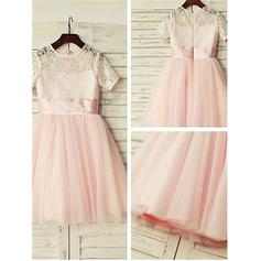Scoop Neck A-Line/Princess Flower Girl Dresses Tulle/Lace Lace Short Sleeves Knee-length