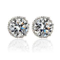 Earrings Zircon/Platinum Plated Pierced Ladies' Sparking Wedding & Party Jewelry